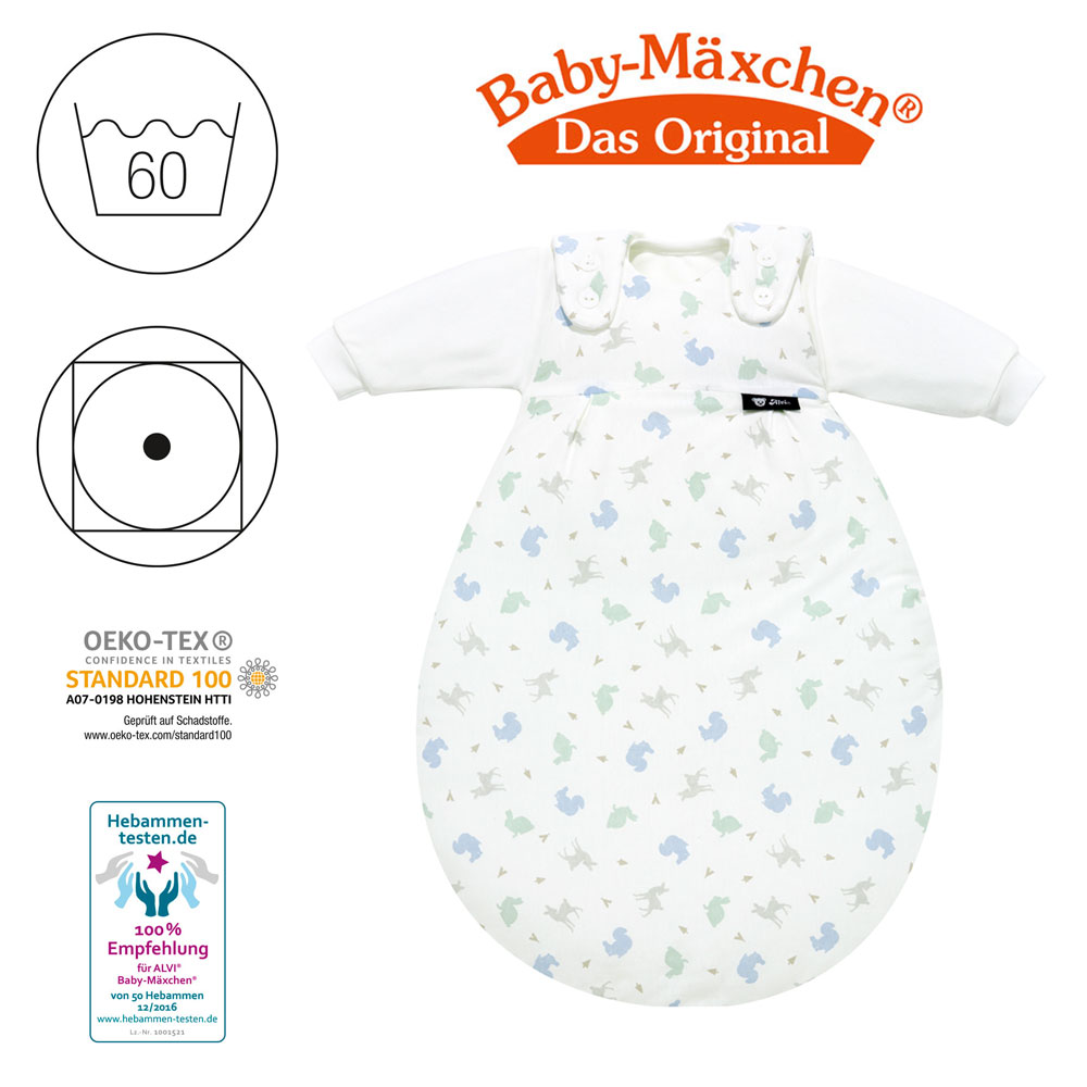 Gr/ö/ße:50//56 bunt Alvi Baby-M/äxchen Au/ßensack Reh /& Co